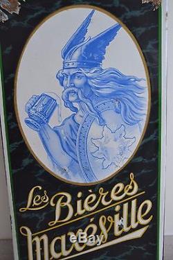 Ancienne Plaque émaillée très rare Les Bières Maxéville Le Gaulois à la Chope