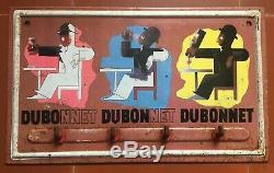 Ancienne Plaque tôle publicitaire / porte-torchon DUBONNET Cassandre 18x30cm