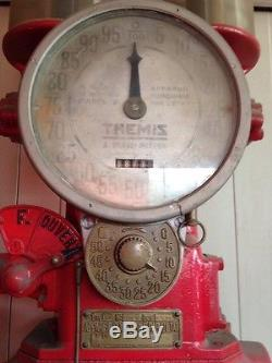 Ancienne Pompe à Essence Themis Année 1936 2 Globes Très bon Etat