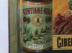 Ancienne TÔLE GENTIANE KOLA Gibelin & Rubod distillateurs no Plaque emaillée1900