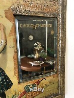 Ancienne Tole Lithographie Plaque Emaillee Miroir Chocolat Menier Suchard Milka