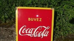 Ancienne VERITABLE grande Plaque émaillée COCA COLA GROOM 1957 tole deco loft