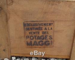 Ancienne Vitrine Meuble Bois Publicitaire Potages Maggi Epicerie Estampillee