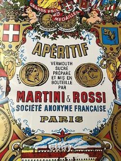 Ancienne authentique Plaque tole publicitaire martini Porte Menu Vintage Bistrot