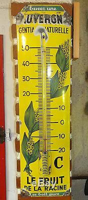 Ancienne, authentique et rare plaque émaillée thermomètre publicitaire Gentiane