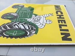 Ancienne et Authentique Plaque Emaillee Michelin Pneus Tracteur Top état