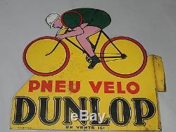 Ancienne et rare Plaque en tole peinte émaillée PNEU VELO DUNLOP en vente ici