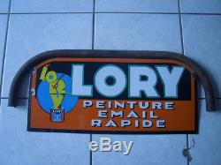 Ancienne et rare plaque emaillee LORY double face
