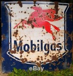 Ancienne grande plaque émaillé MOBILGAS industrie, vintage, garage, auto, moto