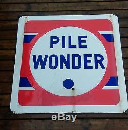 Ancienne grande plaque emaillée PILE WONDER, loft, usine, vintage, garage