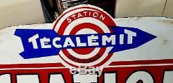 Ancienne grande plaque émaillée garage station service TECALAMIT