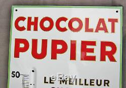 Ancienne grande plaque émaillee thermomètre Chocolat PUPIER 110 x 40