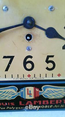 Ancienne pendule publicitaire garage atelier bidon huile auto clock no copy japy