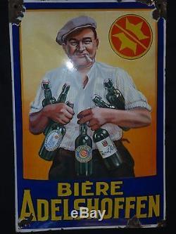 Ancienne plaque emaillée, biere ADELSHOFFEN bombée, E. A. S. Un must