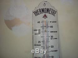 Ancienne plaque emaillé grand thermometre chocolat revillon