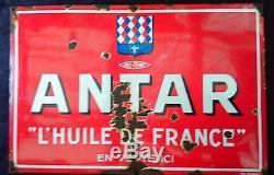 Ancienne plaque émaillé HUILE ANTAR FRANCE 80X120 garage, auto, moto