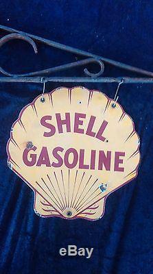Ancienne plaque émaillé SHELL GAZOLINE 1930 garage, auto, moto