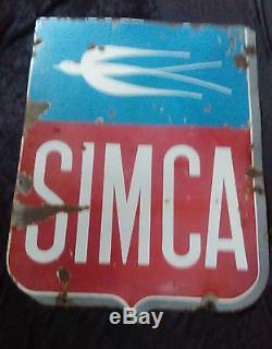 Ancienne plaque émaillé SIMCA garage, auto, moto, aronde, p60