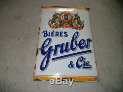 Ancienne plaque émaillée BIERE GRUBER