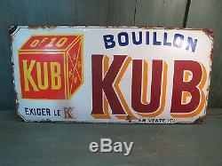 Ancienne plaque emaillee BOUILLON KUB publicité ancienne vieux bistrot