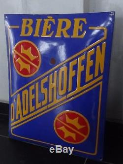 Ancienne plaque émaillée Bière Adelshoffen Bière d'Alsace