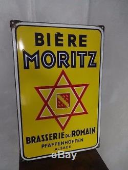 Ancienne plaque émaillée Bière MORITZ Brasserie du Romain Bière d'Alsace