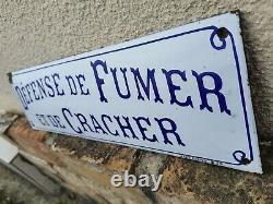 Ancienne plaque émaillée Bombée defense de fumer et cracher Japy frères