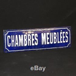 Ancienne plaque émaillée CHAMBRES MEUBLÉES époque 1900 e très bon etat pub