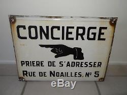 Ancienne plaque emaillee CONCIERGE PARIS enamel art populaire industriel