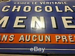 Ancienne plaque émaillée Chocolat MENIER JAPY FRERES & Cie, 1920 Rare