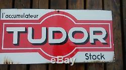 Ancienne plaque emaillée DOUBLE accumulateur TUDOR, loft, usine, vintage, garage