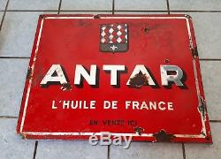 Ancienne plaque émaillée HUILE ANTAR FRANCE