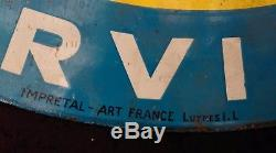 Ancienne plaque émaillée HUILE RENAULT 1950, lof, vintage, garage