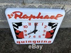 Ancienne plaque émaillée Horloge Quinquina ST RAPHAËL -no bidon tole affiche