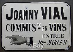 Ancienne plaque émaillée JOANNY VIAL Com. En vins 1920 bistrot absinthe bar