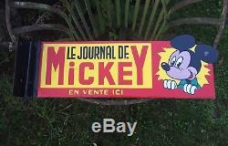 Ancienne plaque émaillée Journal De Mickey EAS 1950 Presse Journaux Strasbourg