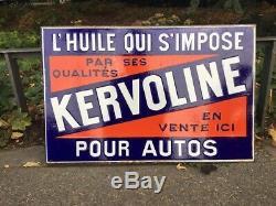 Ancienne plaque émaillée KERVOLINE Double Face huile Garage moteur