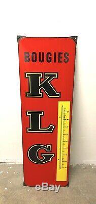 Ancienne plaque émaillée KLG publicité vintage garage atelier loft 1950 1960s