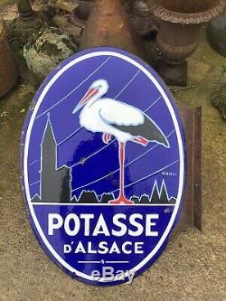 Ancienne plaque émaillée POTASSE D'ALSACE HANSI double face EAS