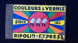 Ancienne plaque émaillée RIPOLIN double, vintage, garage, bistrot, métal, peinture