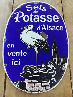 Ancienne plaque émaillée SELS DE POTASSE D'ALSACE émail ED JEAN 40x59 cm