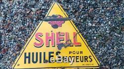 Ancienne plaque émaillée SHELL triangulaire 1930, lof, vintage, garage, no copie