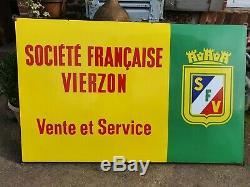 Ancienne plaque émaillée TRACTEUR SOCIÉTÉ FRANCAISE VIERZON 1950 EAS garage