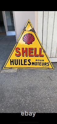 Ancienne plaque émaillée Triangle SHELL DOUBLE FACE huile Garage moteur année 30
