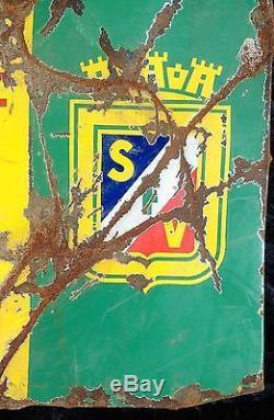 Ancienne plaque émaillée VIERZON, loft, vintage, garage, bistrot, métal, agricole