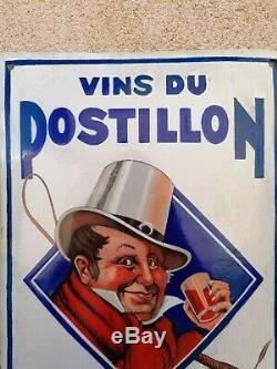 Ancienne plaque émaillée VINS DU POSTILLON petit modèle Bombée