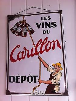 Ancienne plaque emaillee VIN DU CARILLON