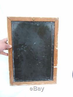 Ancienne plaque émaillée art déco cacatoès signature asiatique vitracier japy