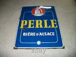 Ancienne plaque émaillée bière perle