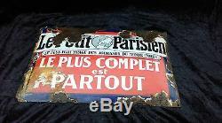 Ancienne plaque émaillée bombé LE PETIT PARISIEN, loft, collection, vintage, indus